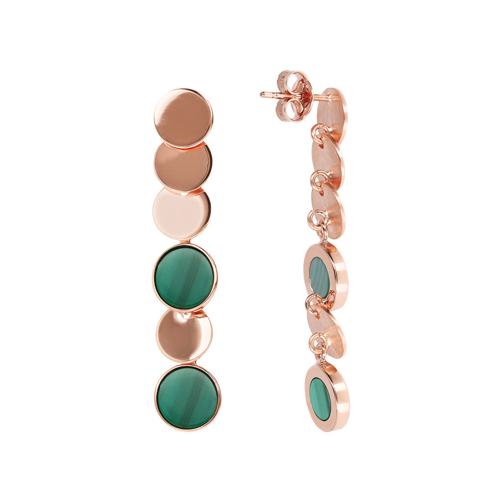 ALBA dangle polished 8MM disc earrings with flat disc stone - WSBZ01755 MALACHITE front and side