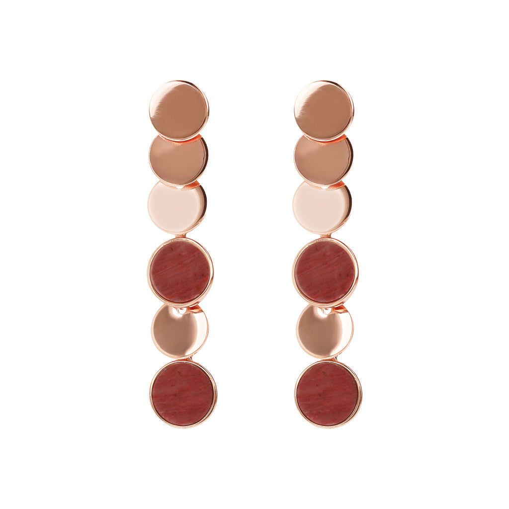 ALBA dangle polished 8MM disc earrings with flat disc stone - WSBZ01755 RED FOSSIL WOOD