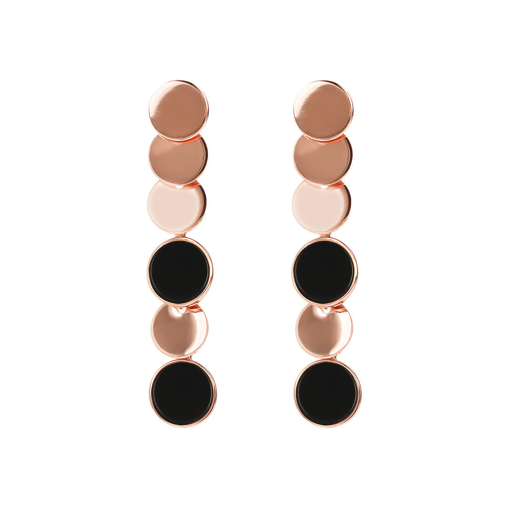 Bronzallure | Earrings | Dangle Earrings with Golden Rosé Discs and Coloured Stone