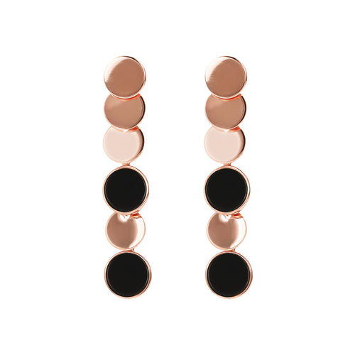 Bronzallure | Earrings | ALBA dangle polished 8MM disc earrings with flat disc stone - WSBZ01755