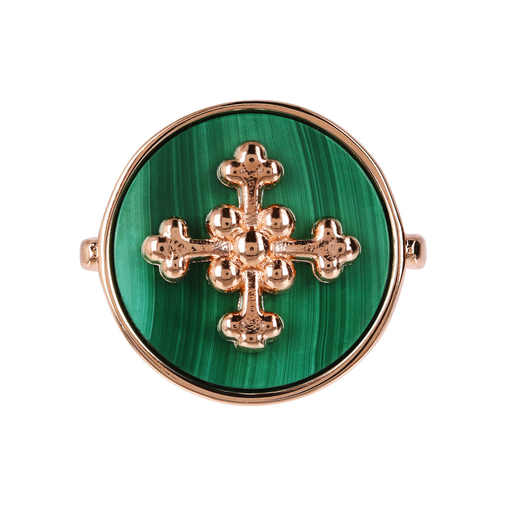 ALBA flat DISC STONE RING WITH cross  ELEMENT - WSBZ01705 MALACHITE setting