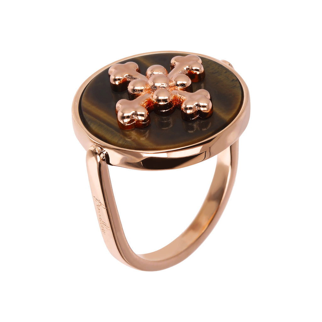 ALBA flat DISC STONE RING WITH cross  ELEMENT - WSBZ01705 TIGER EYE