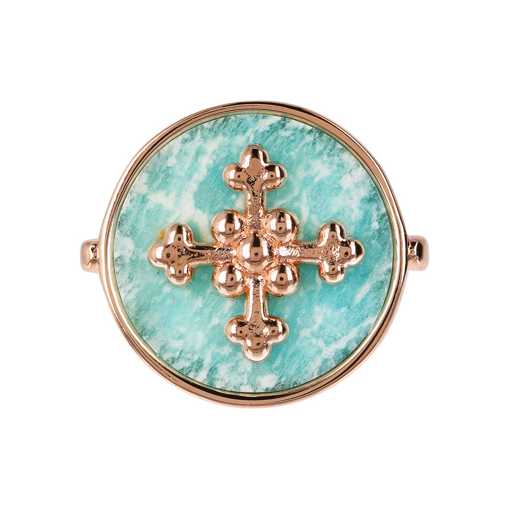 ALBA flat DISC STONE RING WITH cross  ELEMENT - WSBZ01705 setting