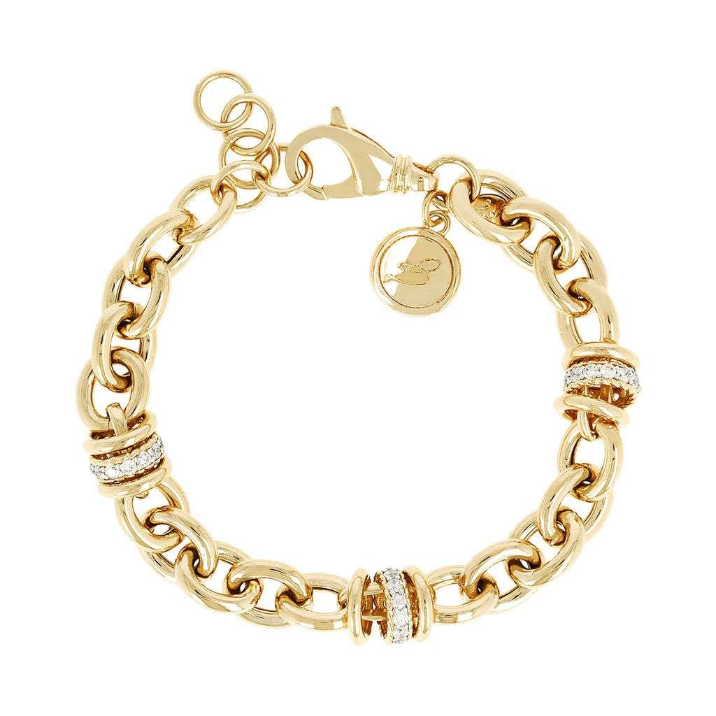 ALTISSIMA ALTISSIMA BRONZALLURE GOLDEN POLISH OVAL ROLO BRACELET W\CZ WASHER ELEMENTS - WSBZ00519Y