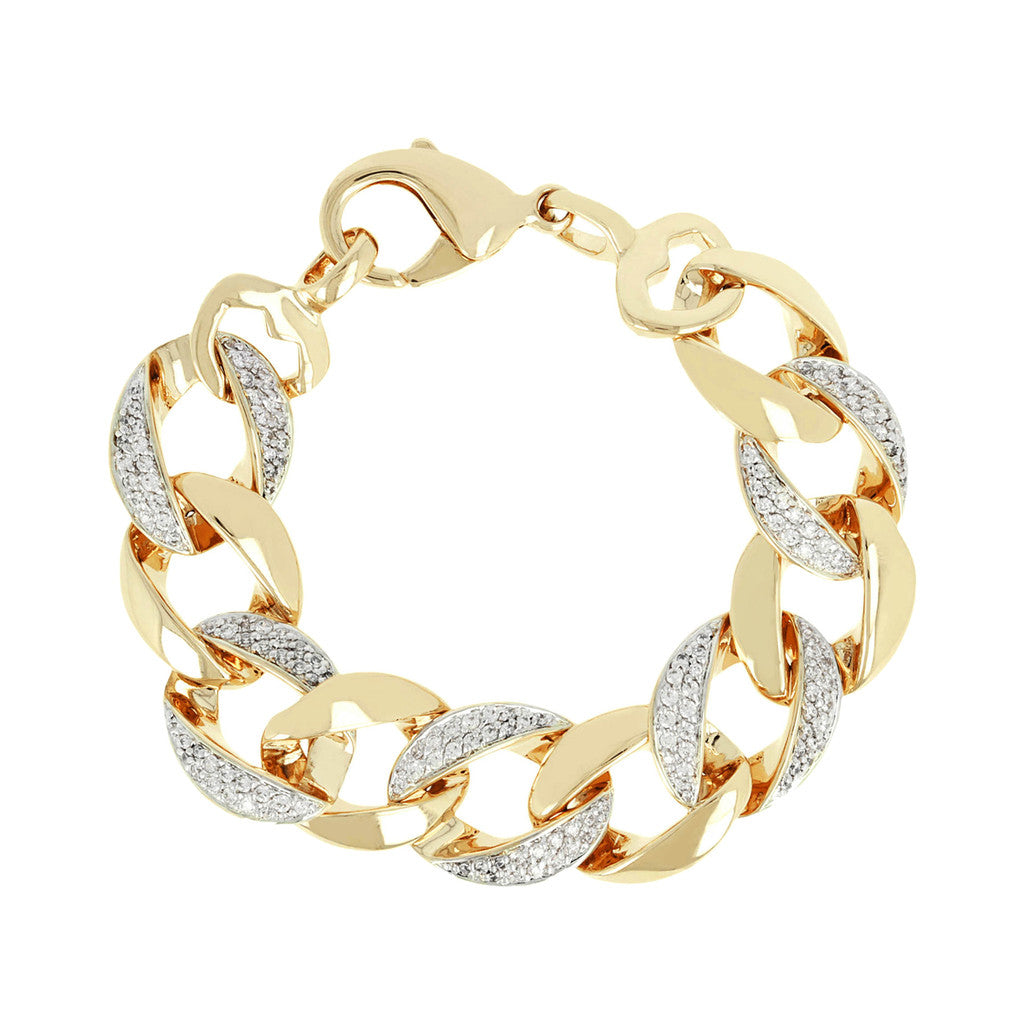 ALTISSIMA BRONZALLURE GOLDEN BRACELET WITH SHINY AND PAVETED CURB LINKS - WSBZ00444Y