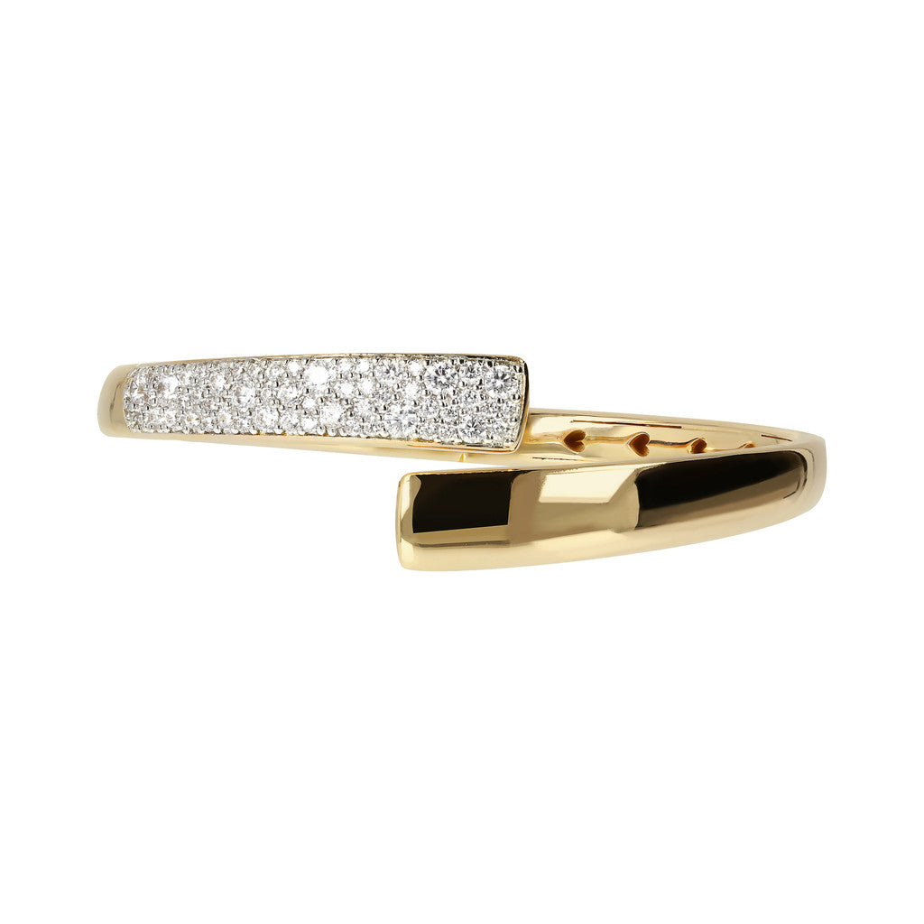 ALTISSIMA BRONZALLURE GOLDEN CONTRAIRE POLISHED BANGLE WITH CZ PAV&egrave;<br> - WSBZ01441Y side