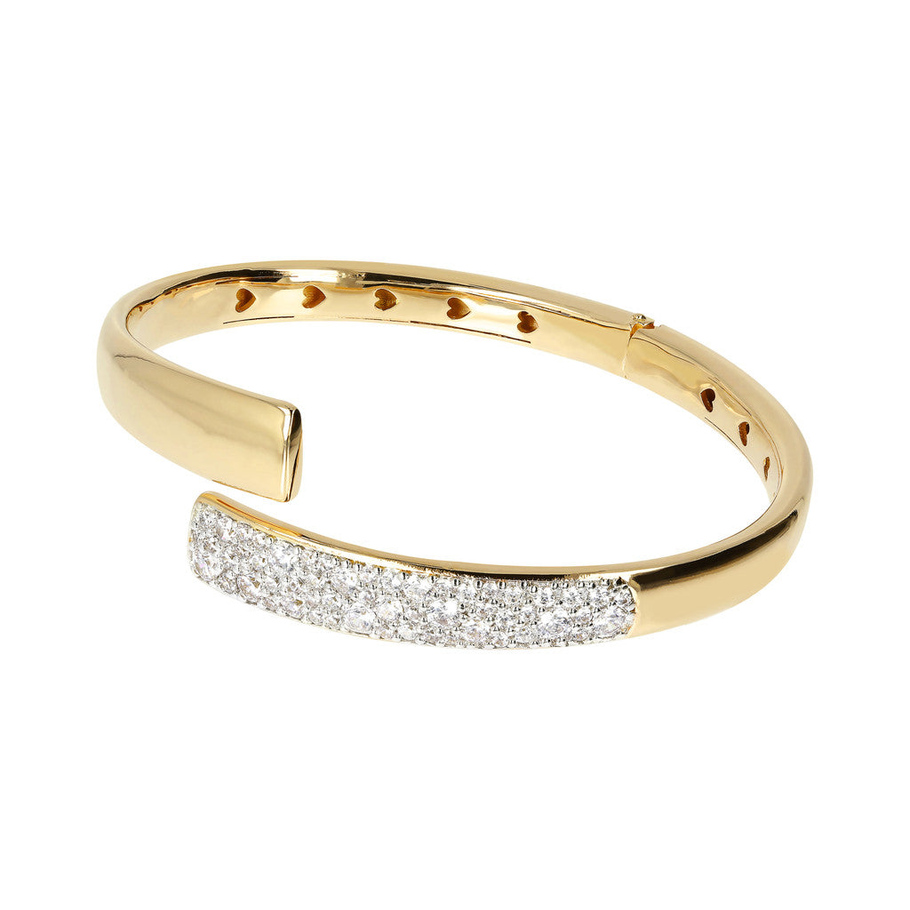 Bronzallure | Bangles | ALTISSIMA BRONZALLURE GOLDEN CONTRAIRE POLISHED BANGLE WITH CZ PAVè<br> - WSBZ01441Y