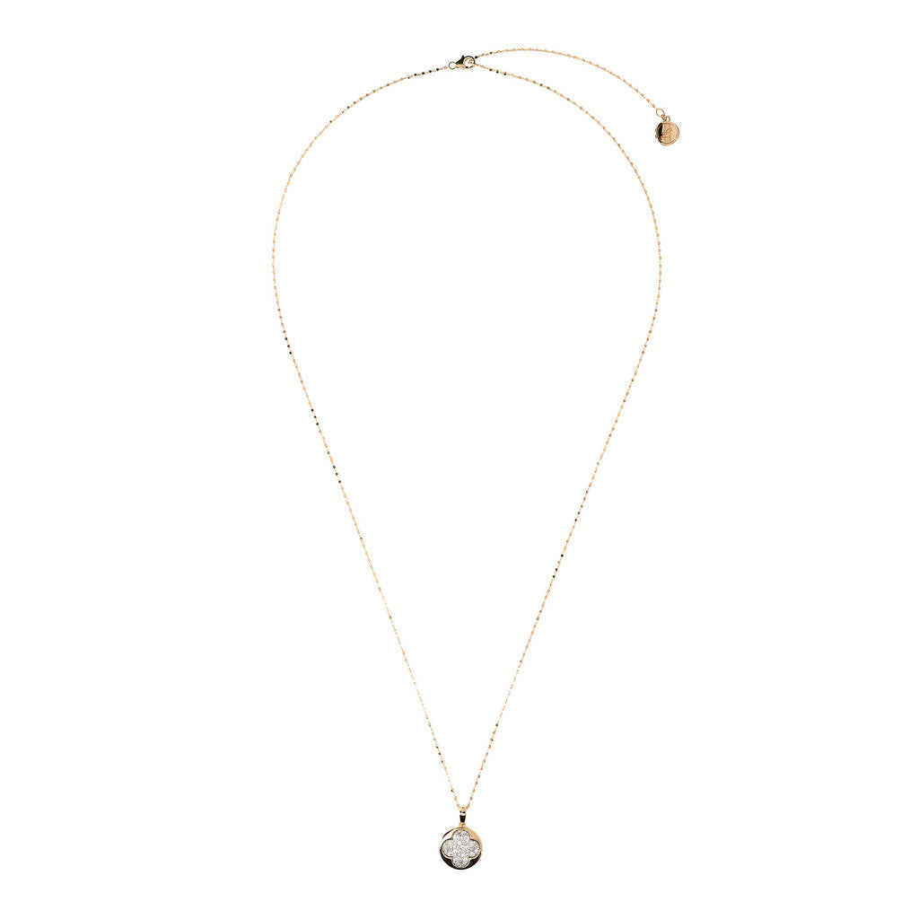 ALTISSIMA BRONZALLURE GOLDEN CUBIC CHANEL NECKLACE WIT FOURLEAF PENDANT WITH CZ PAVE GEMSTONE - WSBZ01290Y from above