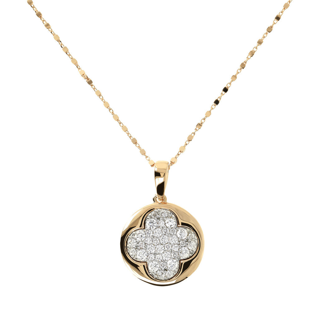 Bronzallure | Necklaces | ALTISSIMA BRONZALLURE GOLDEN CUBIC CHANEL NECKLACE WIT FOURLEAF PENDANT WITH CZ PAVE GEMSTONE - WSBZ01290Y