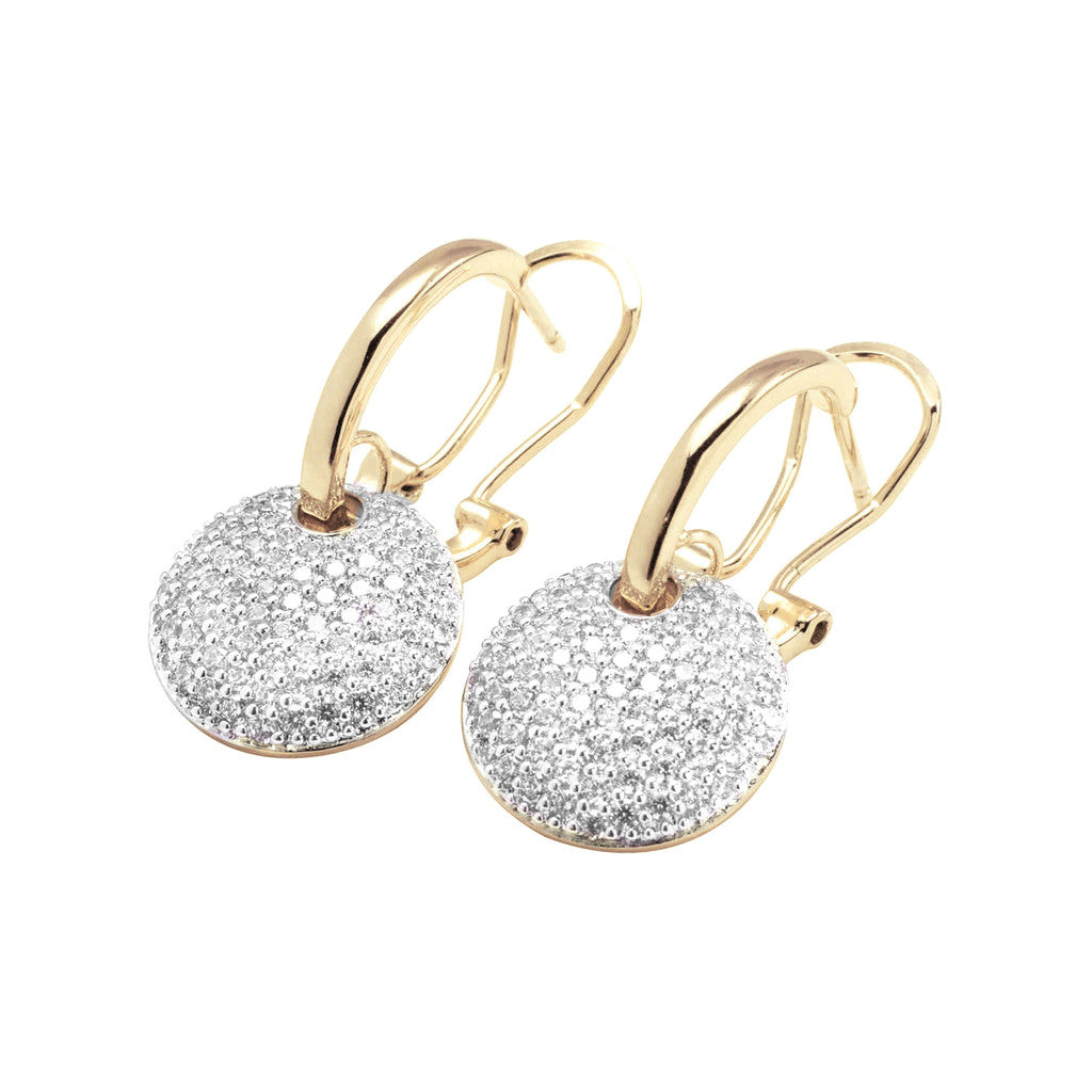 ALTISSIMA BRONZALLURE GOLDEN CZ DANGLE EARRINGS - WSBZ00568Y front and side