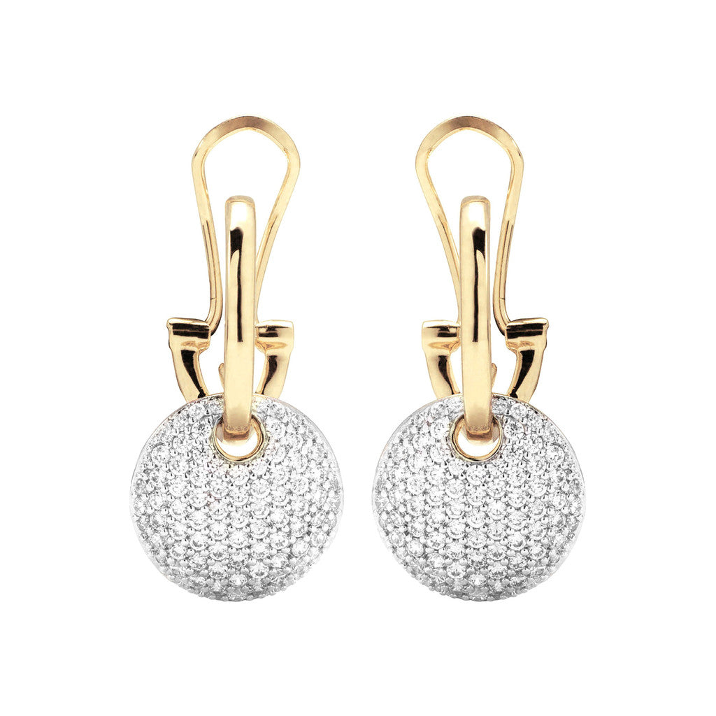 CZ Round Earrings Yellow Gold