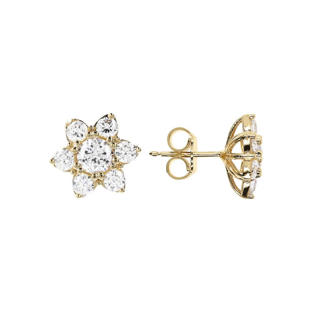 ALTISSIMA BRONZALLURE GOLDEN CZ GEMSTONE FLOWER EARRINGS - WSBZ01648Y front and side