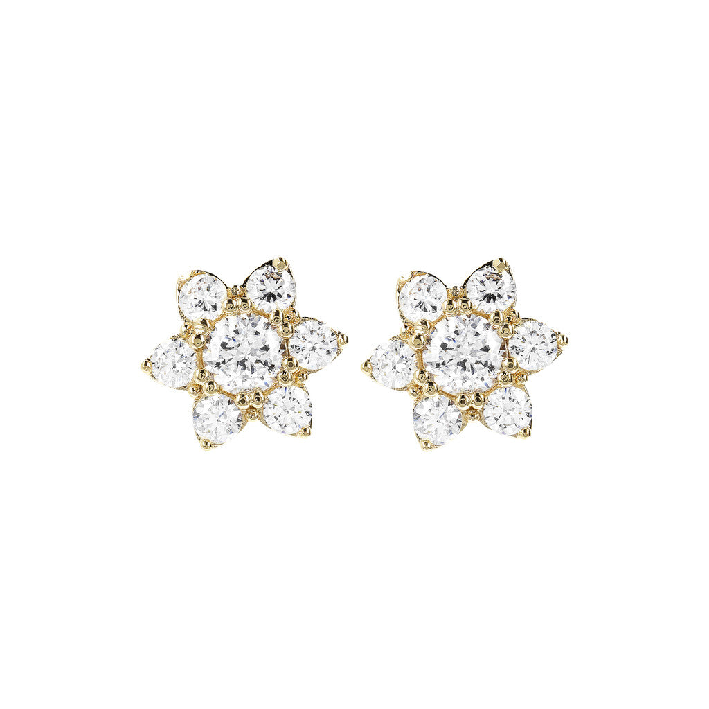 Bronzallure | Earrings | ALTISSIMA BRONZALLURE GOLDEN CZ GEMSTONE FLOWER EARRINGS - WSBZ01648Y
