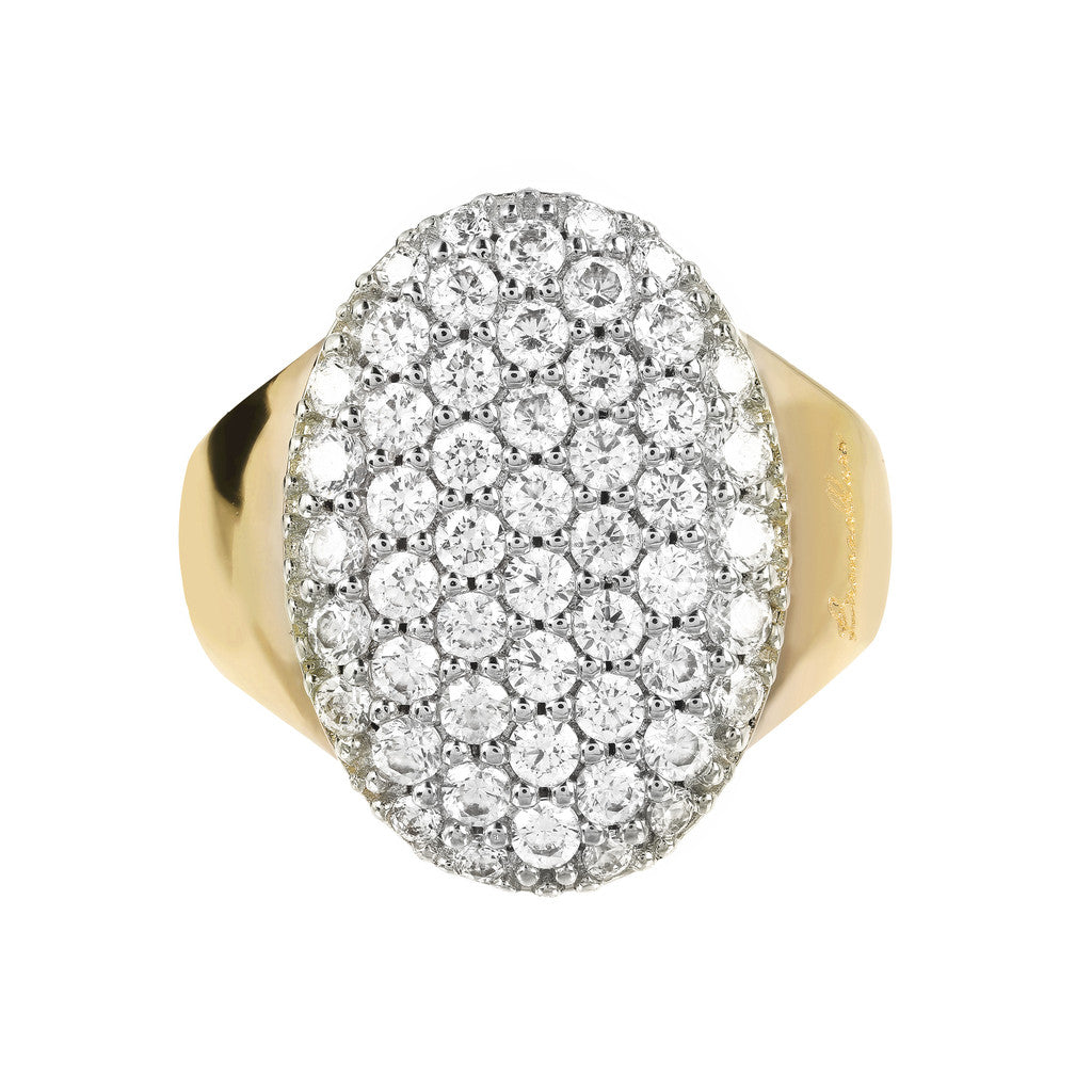 Ring plate WITH  OVAL SHAPE PAVE CZ GEMSTONE - WSBZ01127Y setting