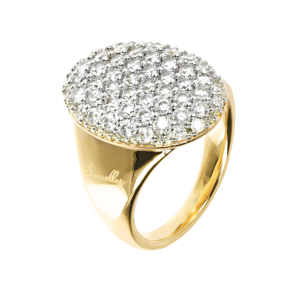 Maxi Pavé CZ and Yellow Gold ring