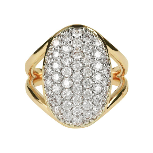 ALTISSIMA BRONZALLURE GOLDEN FANCY SHINY OVAL PAVE  OF BLACK SPINEL GEMSTONE RING - WSBZ00952Y setting