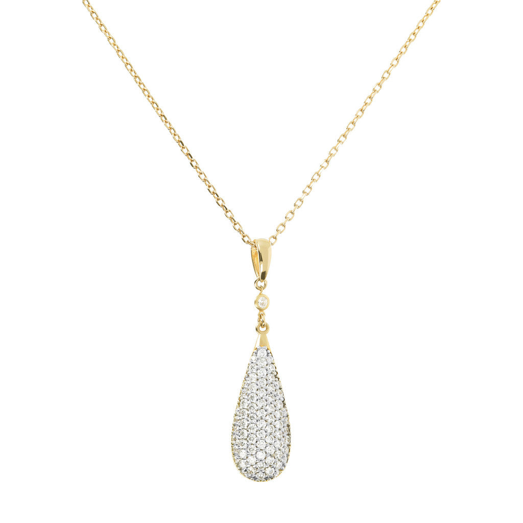 Pendant Drop CZ Necklace Yellow Gold
