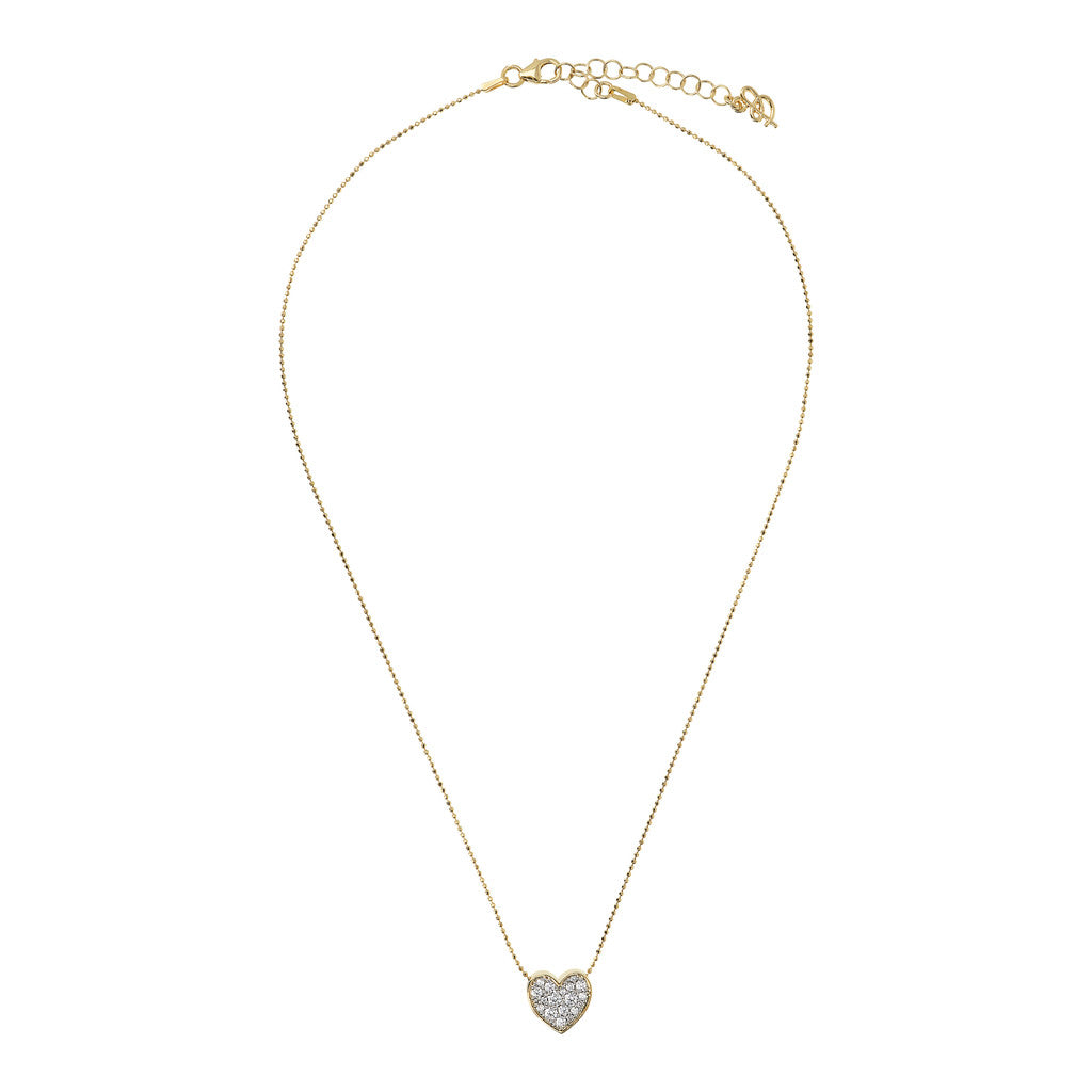ALTISSIMA BRONZALLURE GOLDEN HEART PENDANT WITH PAVè SLIDING NECKLACE - WSBZ01466Y from above
