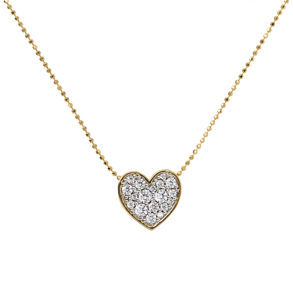 Bronzallure | Necklaces | ALTISSIMA BRONZALLURE GOLDEN HEART PENDANT WITH PAVè SLIDING NECKLACE - WSBZ01466Y