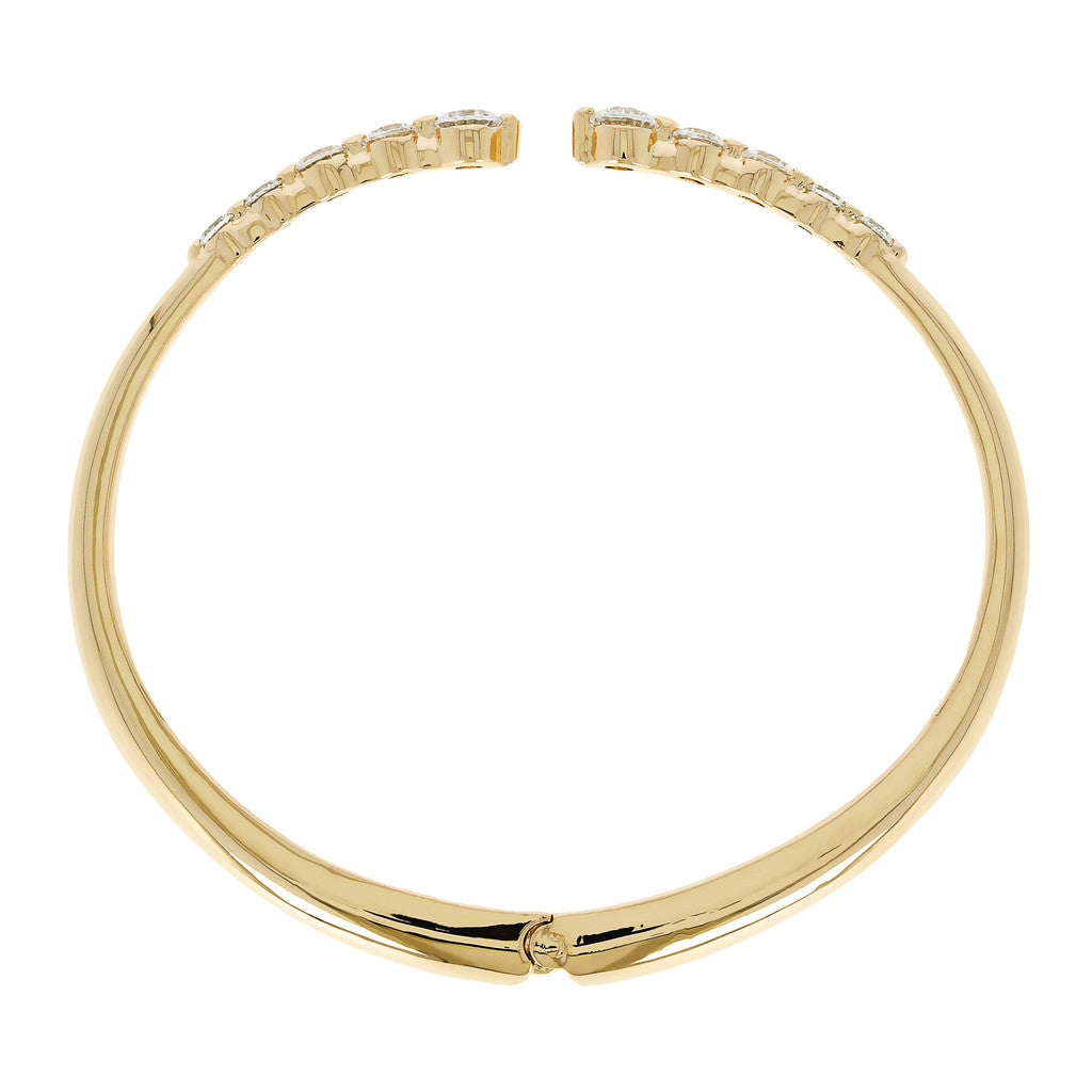 ALTISSIMA BRONZALLURE GOLDEN HINGED POLISHED BANGLE WITH WHITE CZ - WSBZ00881Y side