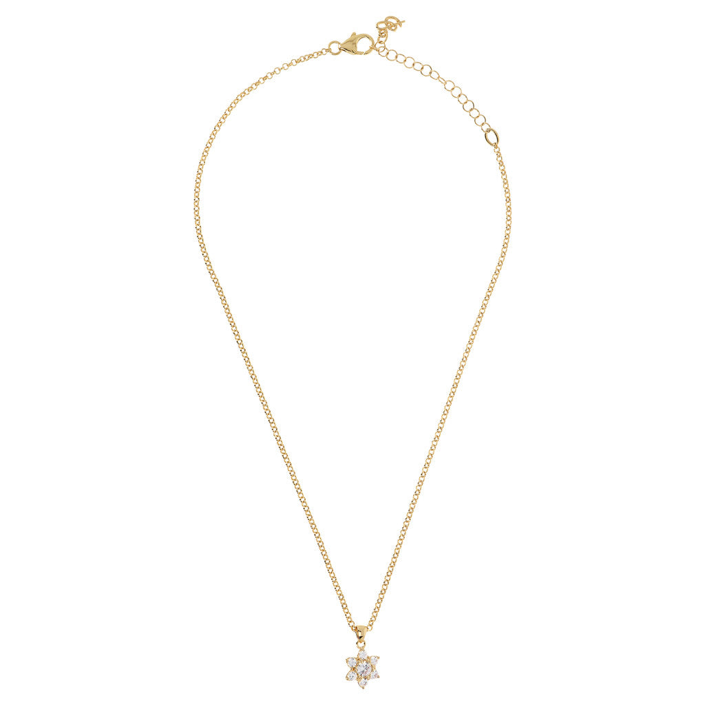 ALTISSIMA BRONZALLURE GOLDEN NECKLACE WITH CZ GEMSTONE PENDANT - WSBZ01680Y from above