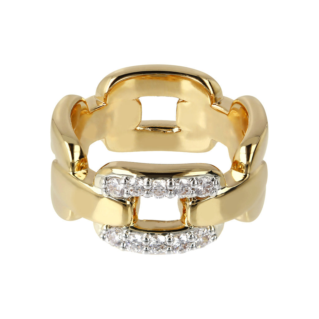 ALTISSIMA BRONZALLURE GOLDEN POLISHED RING WITH CZ PAVè RIGID CHAIN LINK - WSBZ01479Y setting