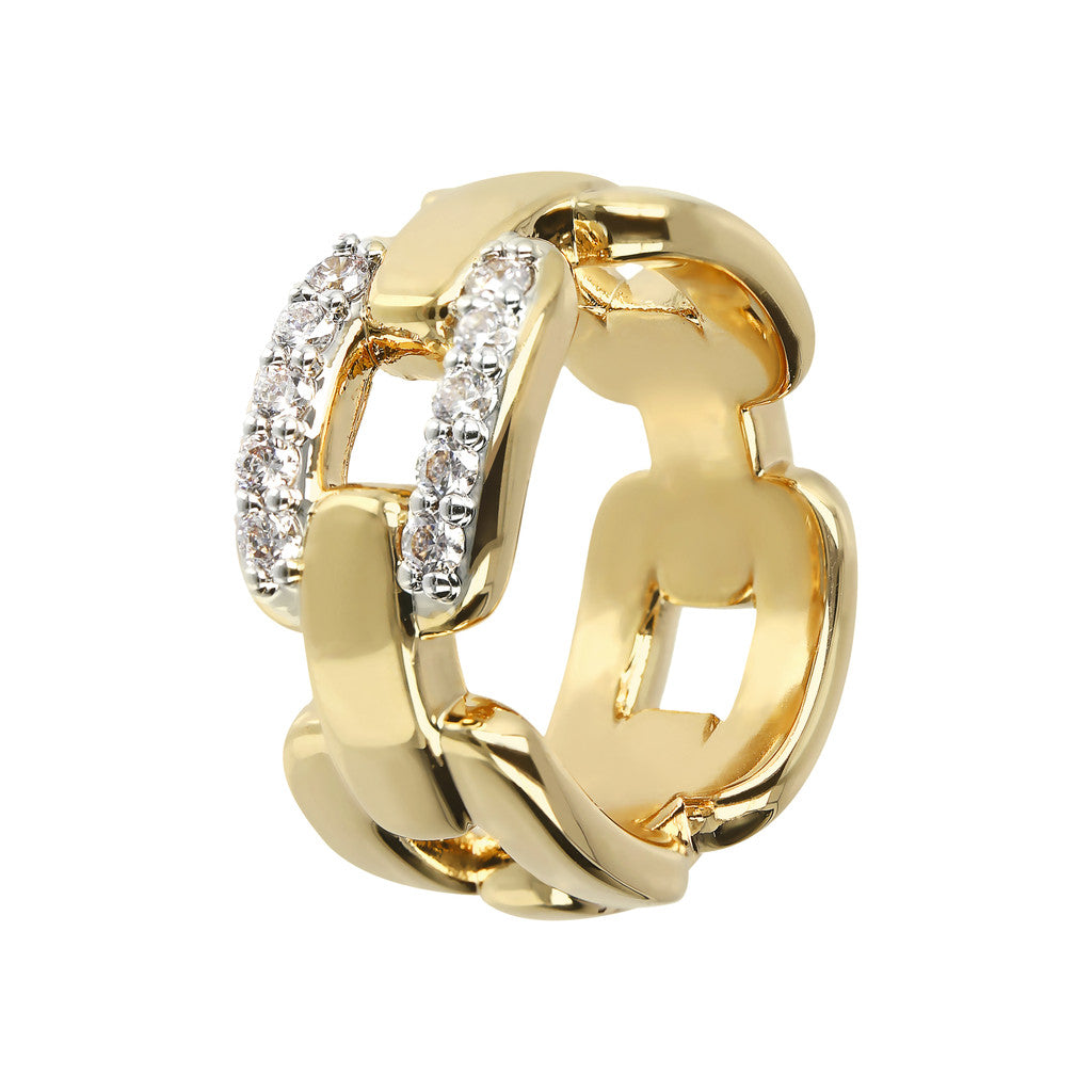 Bronzallure | Rings | ALTISSIMA BRONZALLURE GOLDEN POLISHED RING WITH CZ PAVè RIGID CHAIN LINK - WSBZ01479Y