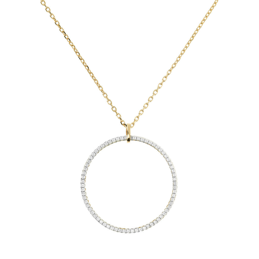 CZ Circle Necklace Yellow Gold
