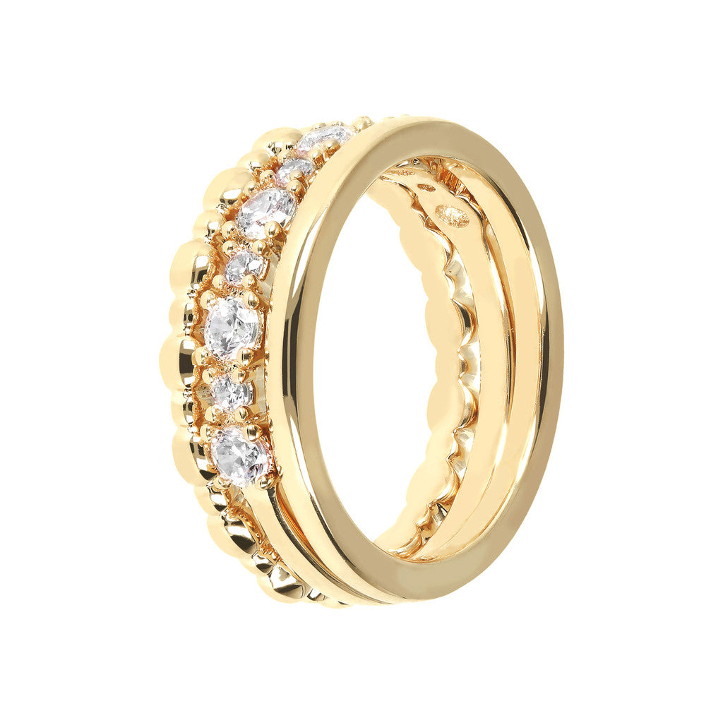 Triple Ring CZ and Yellow Gold