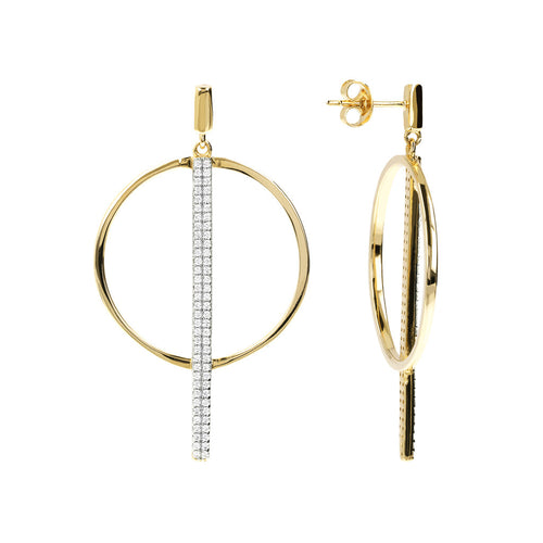ALTISSIMA BRONZALLURE GOLDEN  SHINY CZ GEMSTNE ROUND AND STICK EARRING - WSBZ01152Y front and side