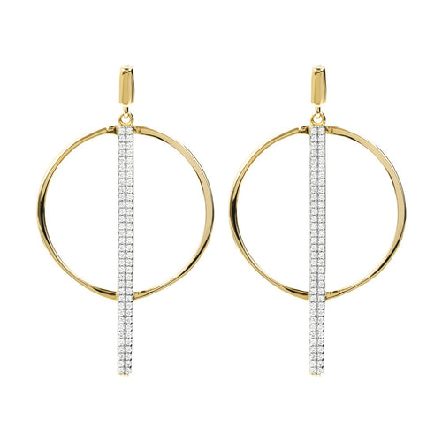 ALTISSIMA BRONZALLURE GOLDEN  SHINY CZ GEMSTNE ROUND AND STICK EARRING - WSBZ01152Y
