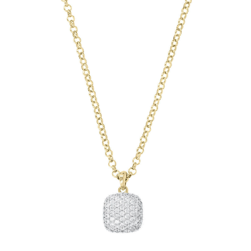Necklace with CZ Square Pendant Yellow Gold