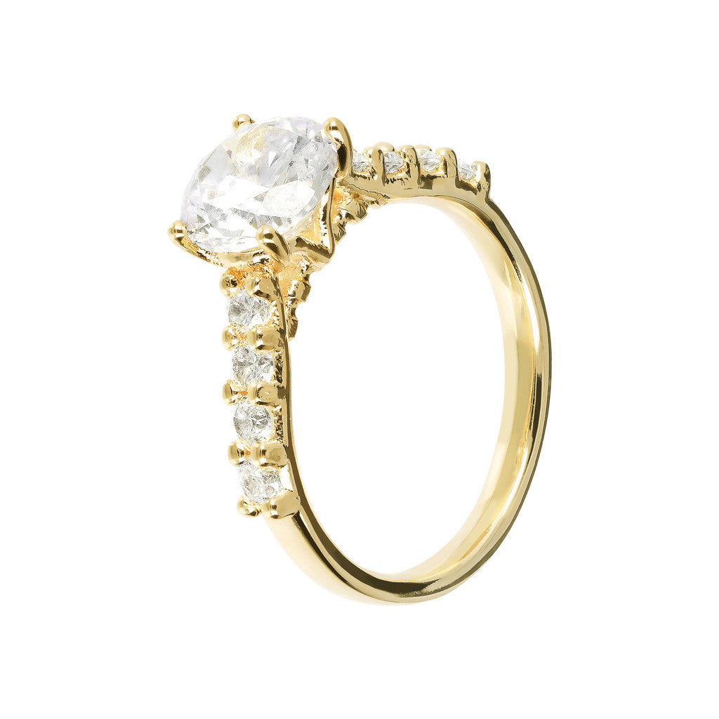 Solitaire Ring with CZ and Yellow Gold