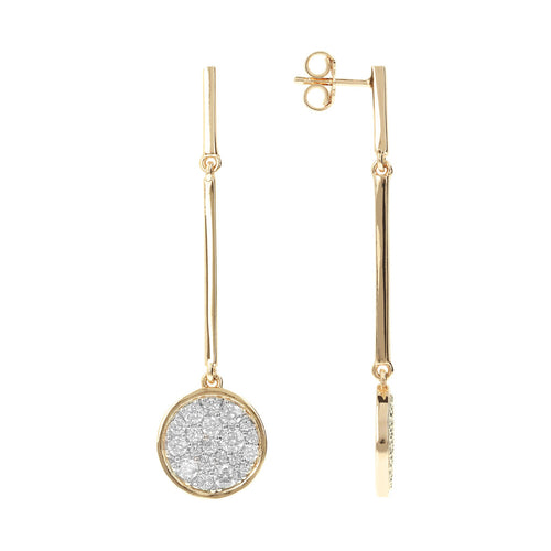 ALTISSIMA BRONZALLURE GOLDEN SHINY ROUND CZ GEMSTONE EARRING - WSBZ01026Y front and side