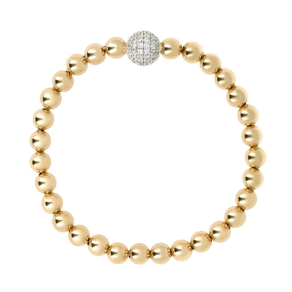 Stretch Bracelet with Beads Yellow Gold