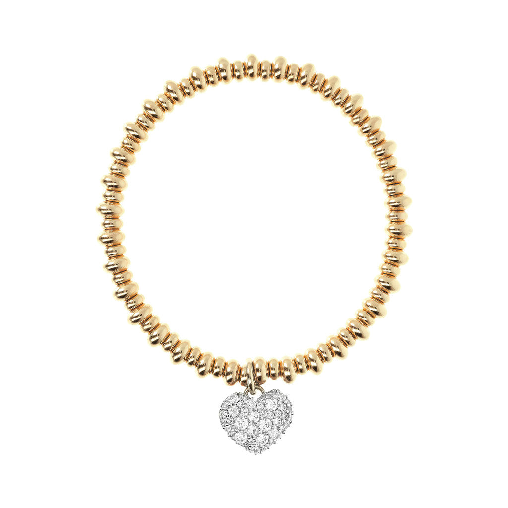Heart Pendant Bracelet Yellow Gold