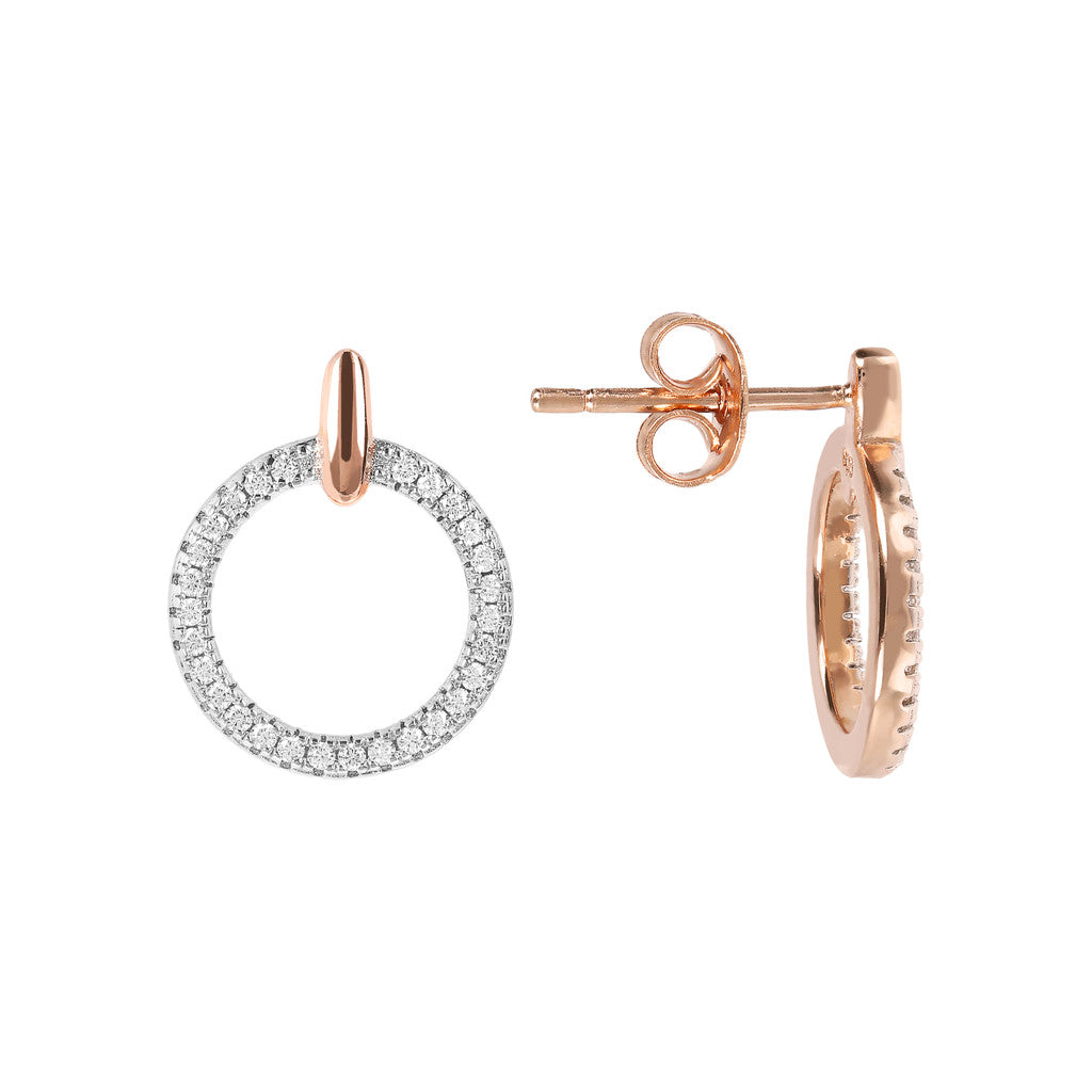 ALTISSIMA CIRCLE CZ GEMSTONE EARRINGS - WSBZ01594 front and side