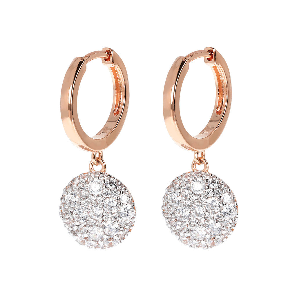 Bronzallure | Earrings | Hoop Earrings with Pavè Pendant CZ