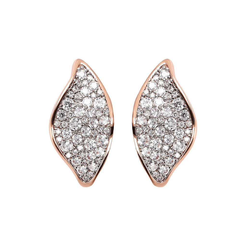 Bronzallure | Earrings | Leaf Cubic Zirconia Stud Earrings