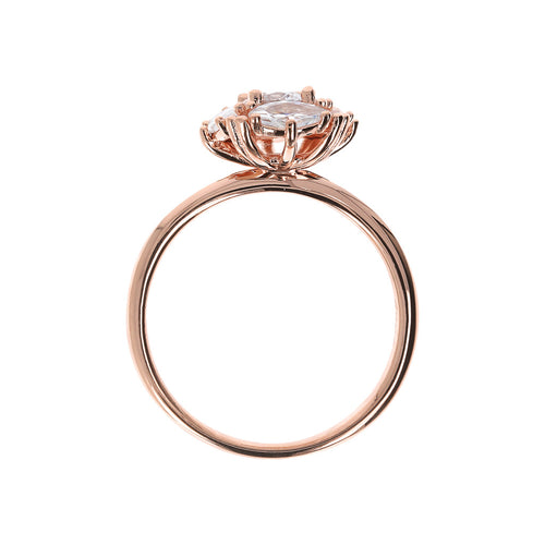 Bronzallure | Rings | Ring with CZ Flower and Griffe Detail