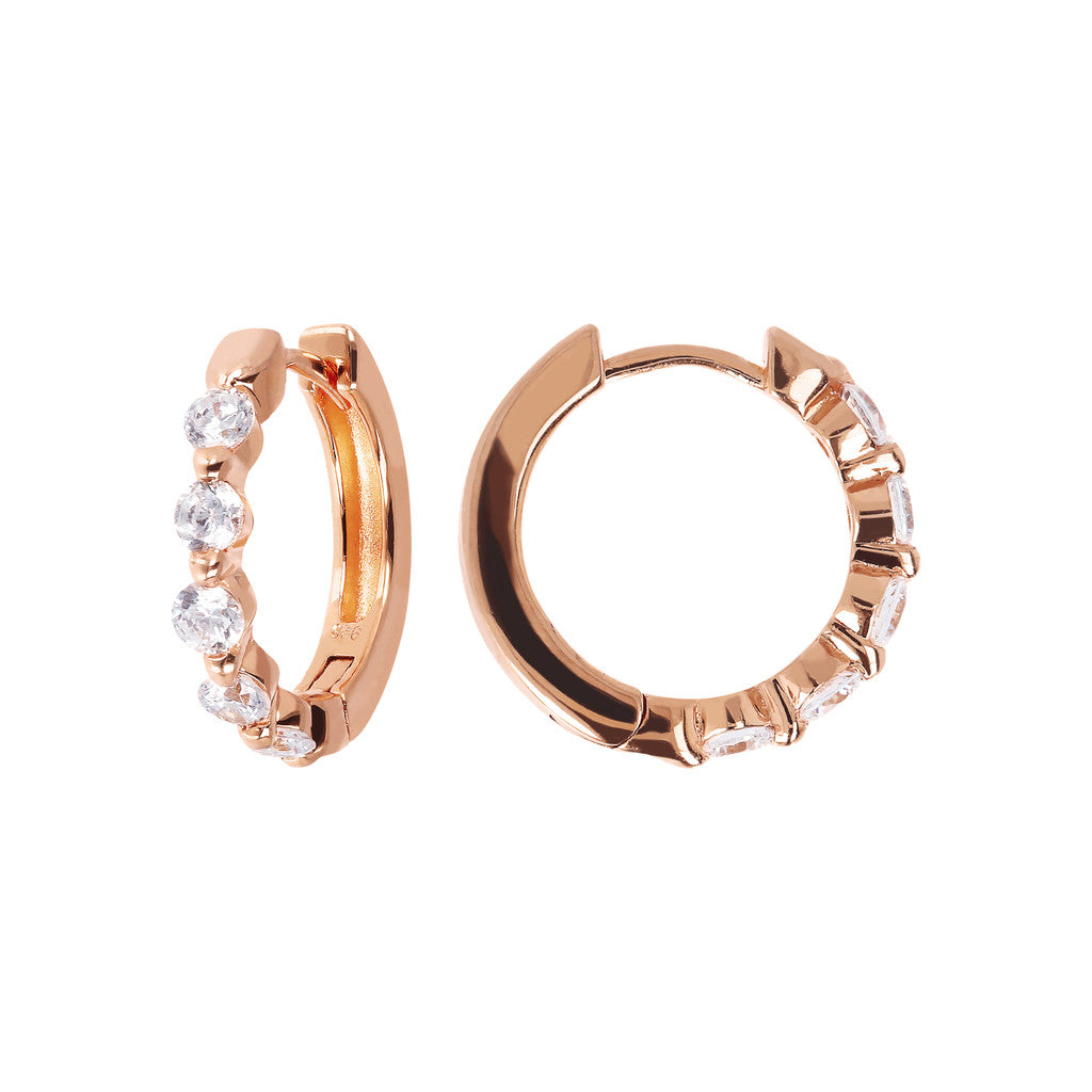 ALTISSIMA SHINY HOOP EARRINGS WITH CZ GEMSTONES - WSBZ01533 front and side