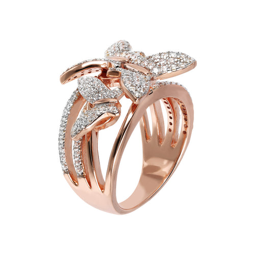 Bronzallure | Rings | Butterfly Multi Strand Pave Ring