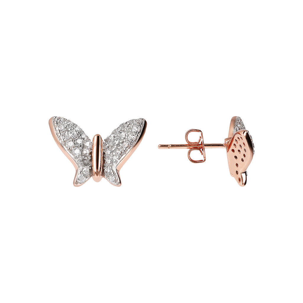 ALTISSIMA butterfly cz button earring - WSBZ01774 front and side