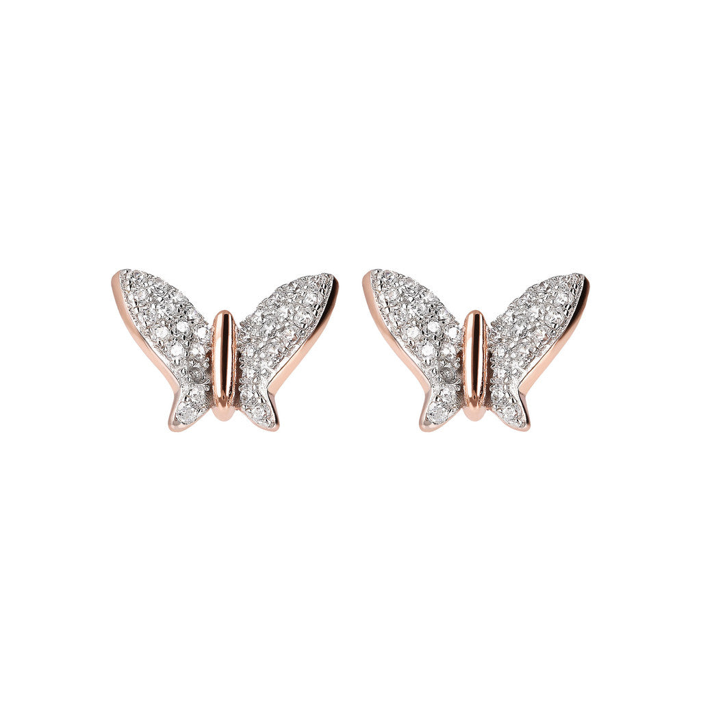ALTISSIMA butterfly cz button earring - WSBZ01774