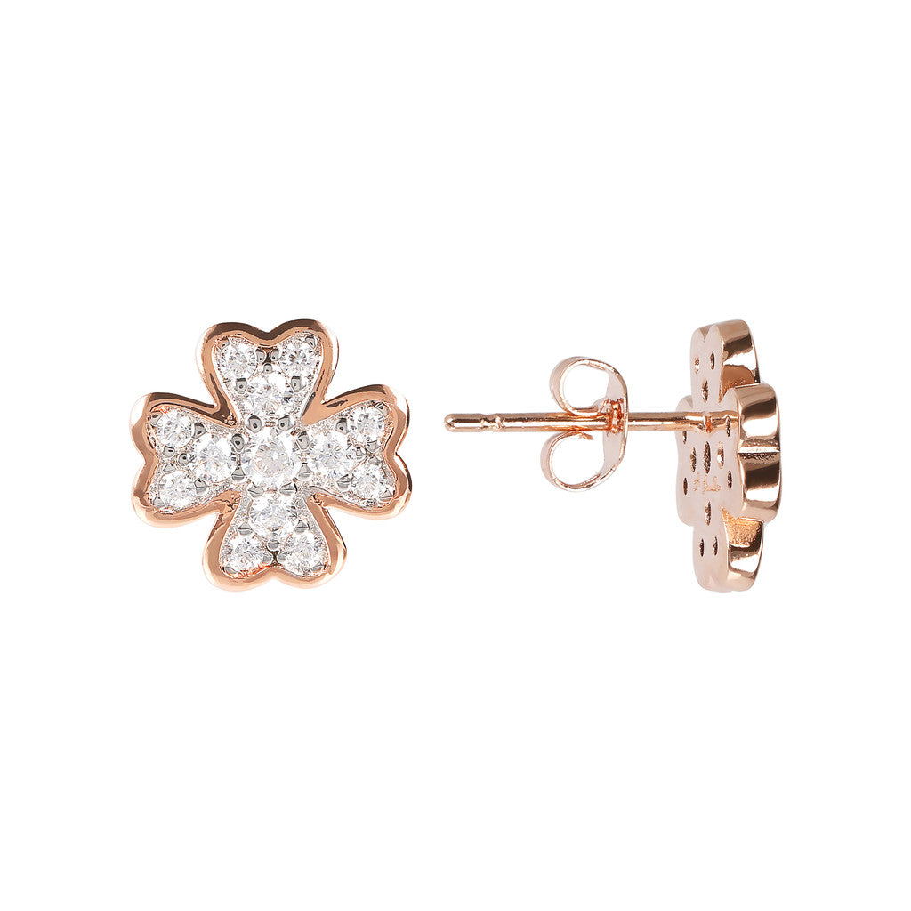 ALTISSIMA clover with cz gemstone earrings - WSBZ01638 CUBIC ZIRCONIA front and side