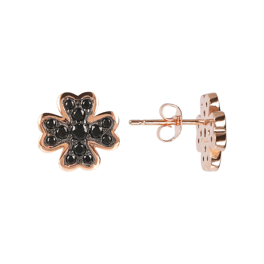 ALTISSIMA clover with cz gemstone earrings - WSBZ01638 front and side