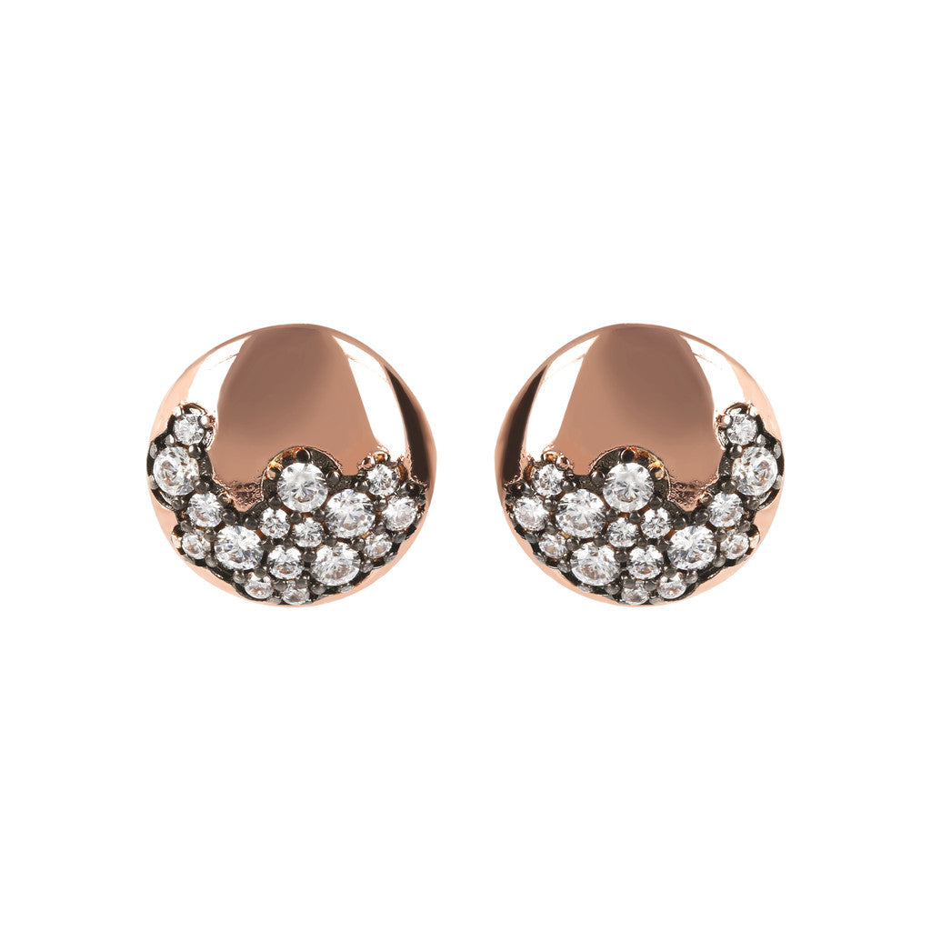 Bronzallure | Earrings | Golden Rosé and Pavé Stud Earrings