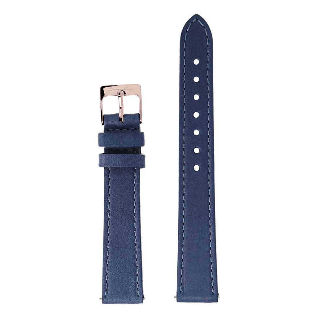 Blue Medium Interchangable Bracelets in leather for Bronzallure Watch