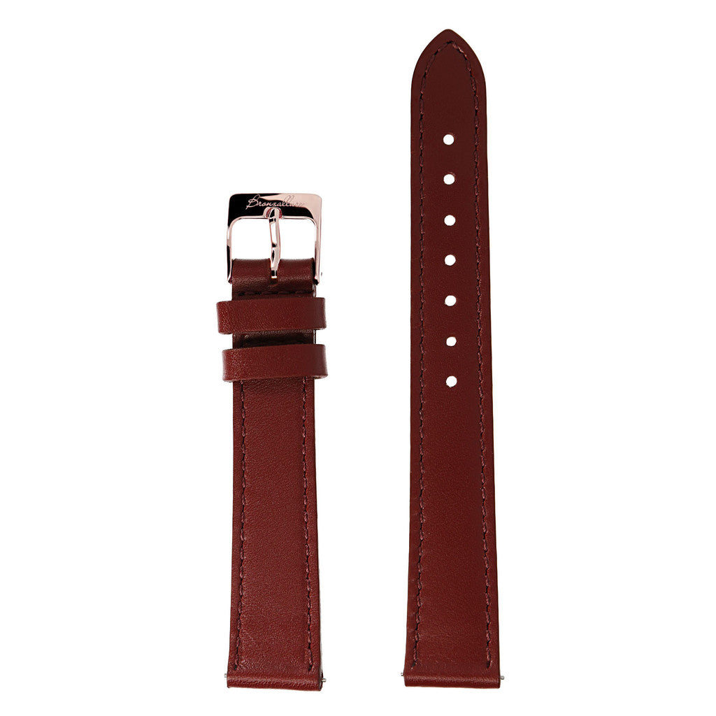 bordeaux Alba Medium Interchangable Bracelets in leather for Bronzallure Watch