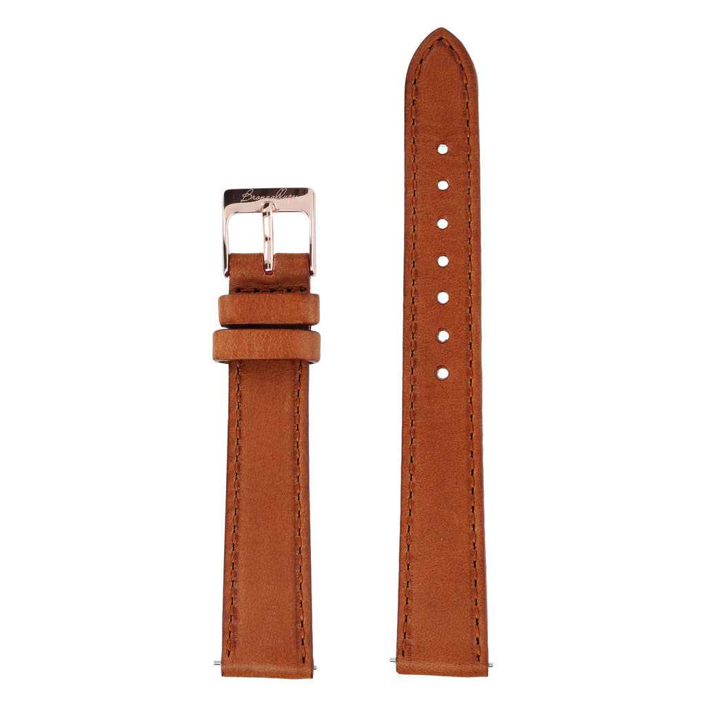 Brown Medium Interchangable Bracelets in leather for Bronzallure Watch